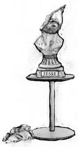 Drawing of Artist Jesse Lown as a classical bust.